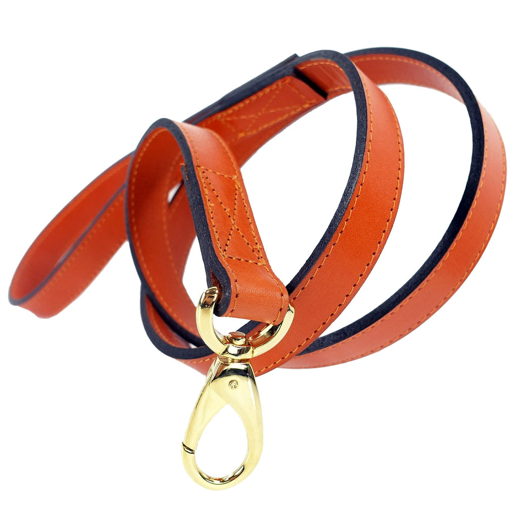 Italian Leather Lead -Tangerine Orange & Gold