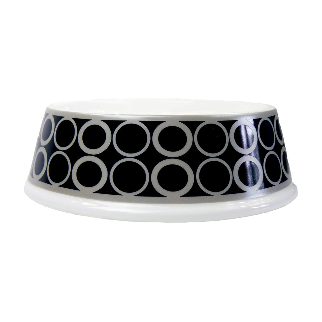 Hartman and Rose Luxury Porcelain Dog Bowl - Patterned Black