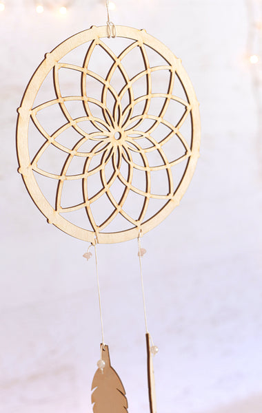 Wooden Gemstone Dreamcatcher