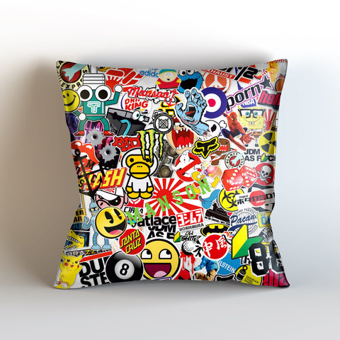 Bumper Sticker Bomb Sublimate Cushion