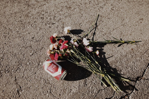 beer can and flowers on the ground