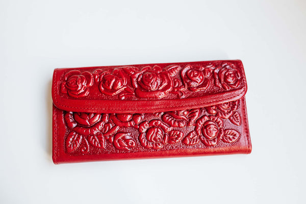 Ramblin' Rose Leather Wallet – Red