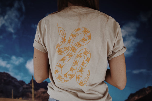 Desert Snake Tee - Light Tan + Mustard