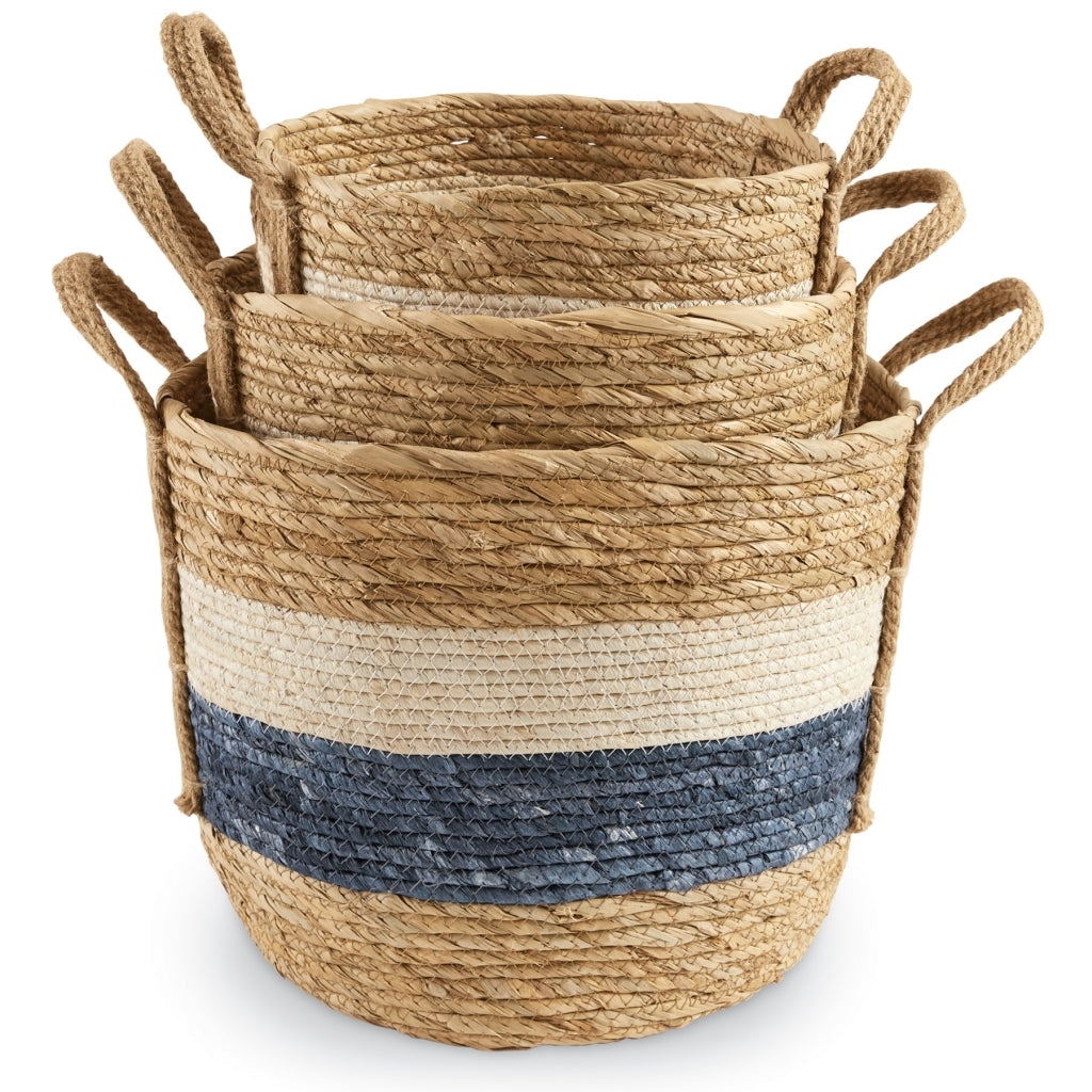 Blue & White Stripe Baskets