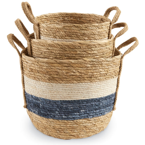Blue & White Stripe Baskets - America's Gardens
