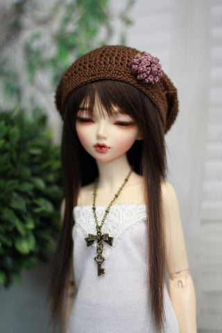 Beret in Brown w/ Mauve Flower for Minifee - Guppy Kisses - 1