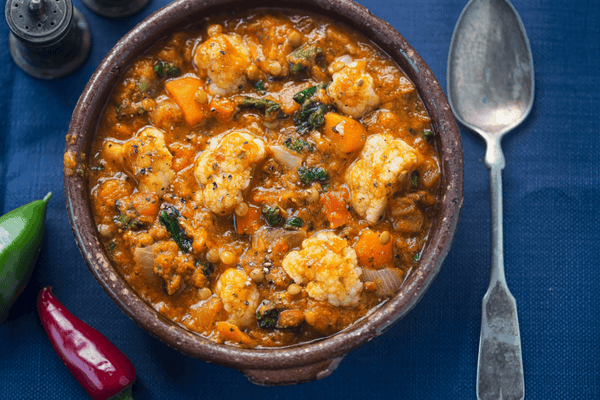 Recipe Box:  Coconut Dahl with cauliflower and silverbeet