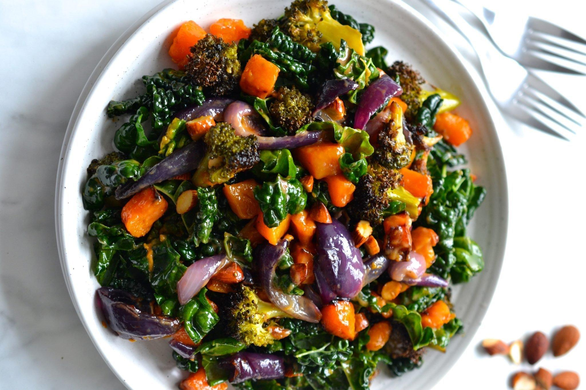 Recipe Box: Pumpkin, Broccoli & Kale Salad with Roasted Garlic Dressing