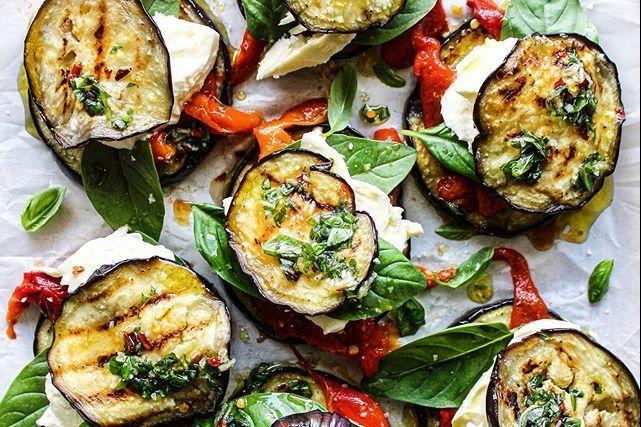 Recipe Box: Eggplant, Red Peppers And Mozzarella Rounds With Chili Basil Oil