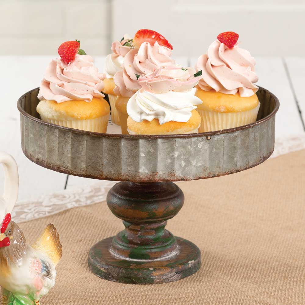 Corrugated Galvanized Metal And Wooden Cake Stand