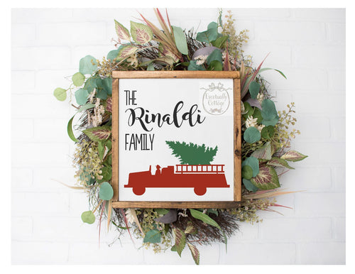 Framed Sign - Firetruck Christmas Tree