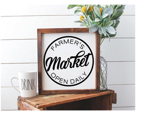 Framed Sign - Farmer's Market Open Daily Sign