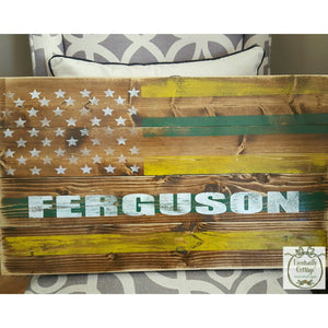 Wood Sign - Personalized American Flag