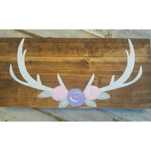 Wood Sign - Flower Antlers | Name