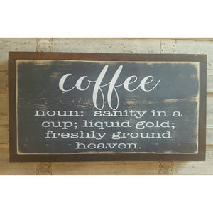 Framed Wood Sign - Coffee Definition