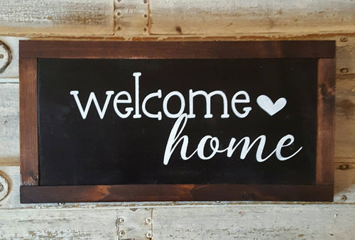 Framed Wood Sign - Welcome Home