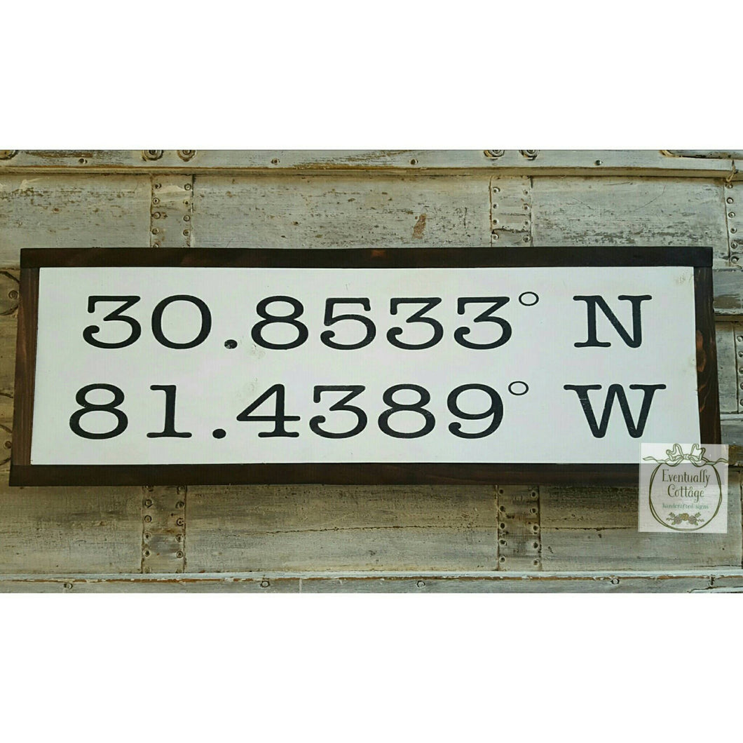 Framed Wood Sign - Latitude Longitude