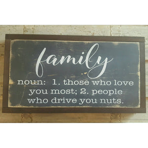 Framed Wood Sign - Family Definition
