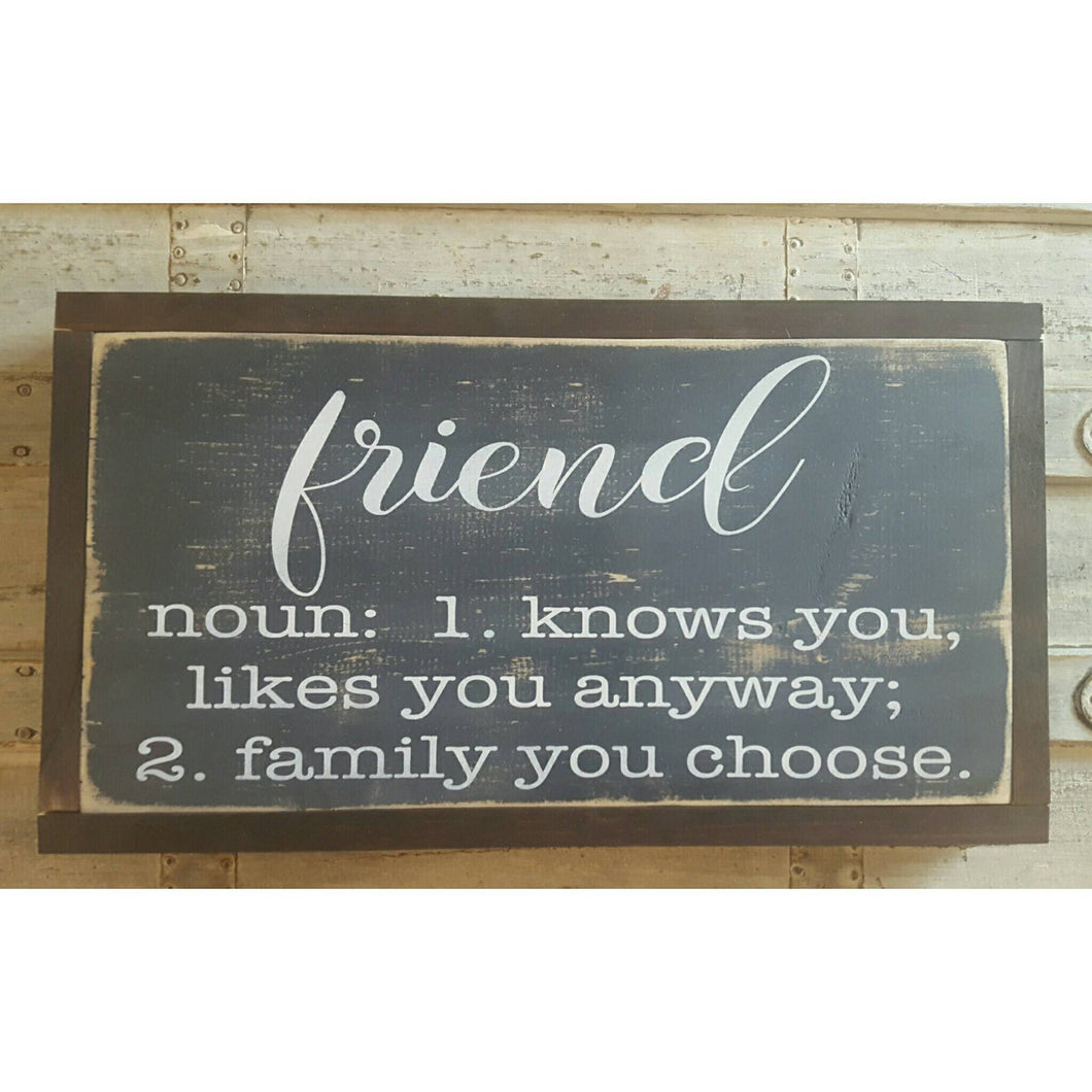 Framed Wood Sign - Friend Definition