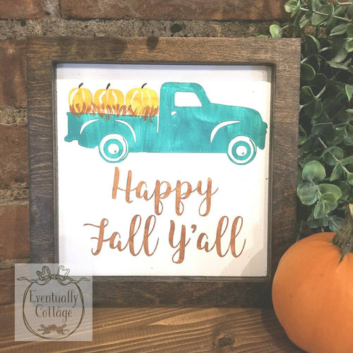 Framed Wood Sign - Happy Fall Ya'll