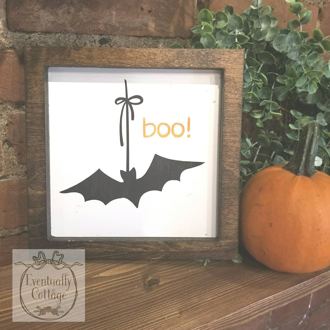 Framed Wood Sign - Boo