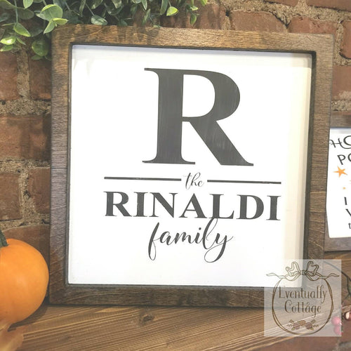 Framed Wood Sign - Family Initial and Name