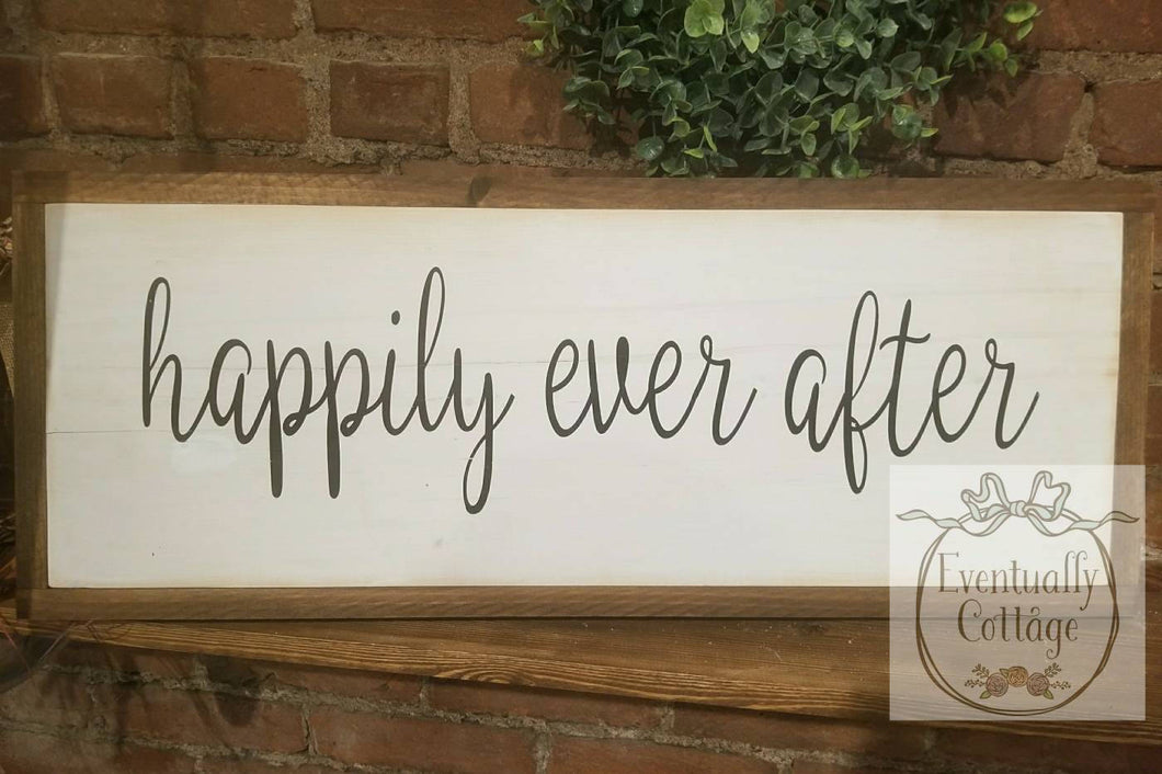 Framed Wood Sign - Happily Ever After