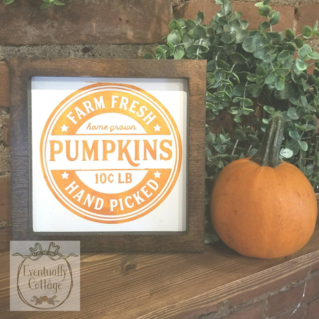 Framed Wood Sign - Farm Fresh Pumpkins