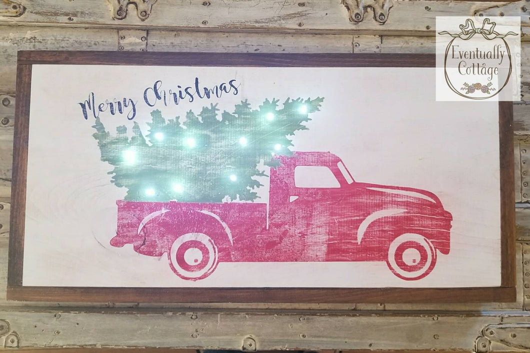 Lighted Framed Sign - Vintage Truck and Christmas Tree