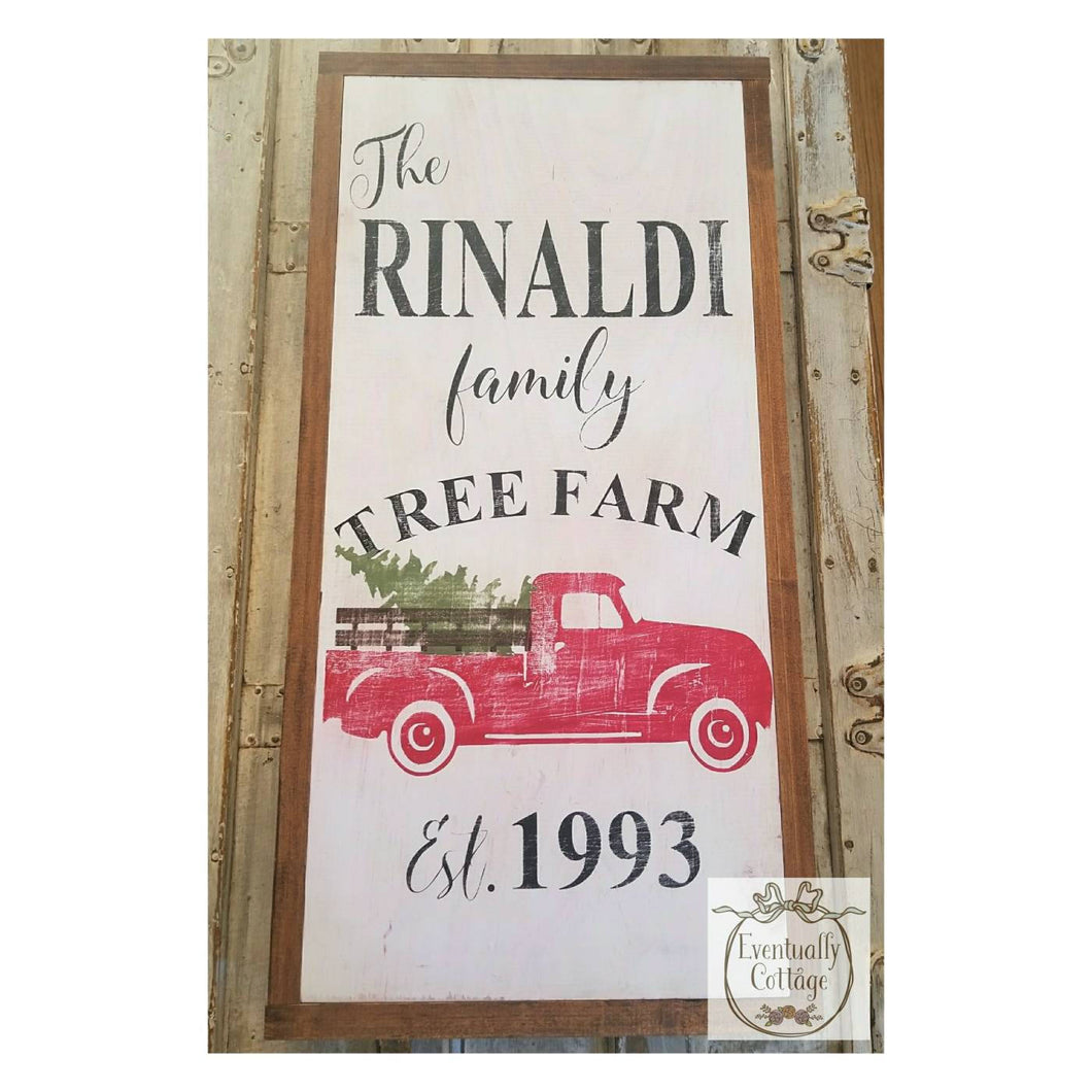 Framed Wood Sign - Personalized Vintage Truck Christmas
