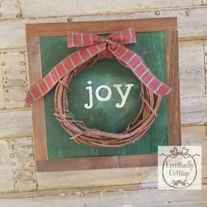 Framed Wood Sign - Joy with a Wreath