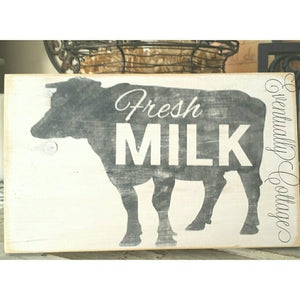 Wood Sign - Fresh Milk