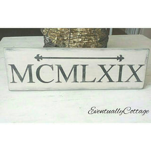 Wood Sign - Roman Numerals | Personalized