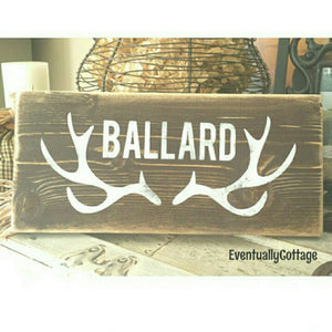 Wood Sign - Antlers + Name