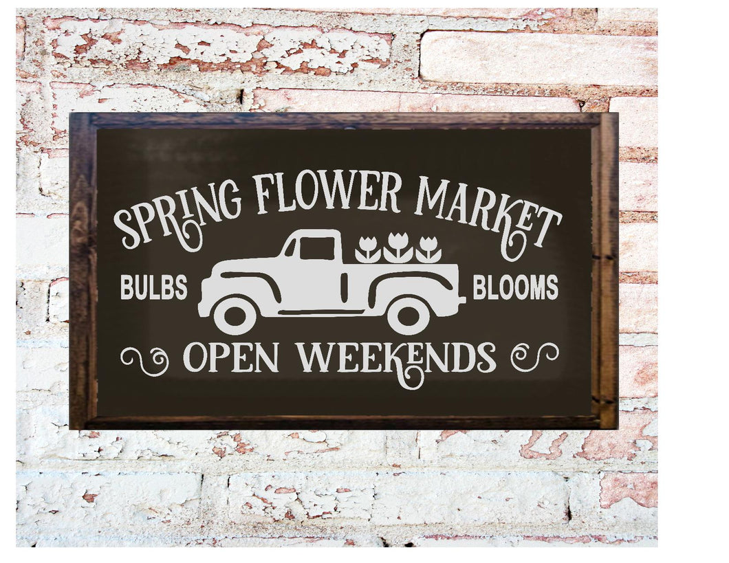 Framed Wood Sign - Spring Flower Market