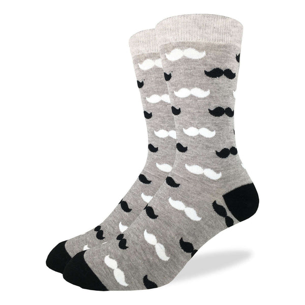 Black & Grey Moustaches Crew Socks