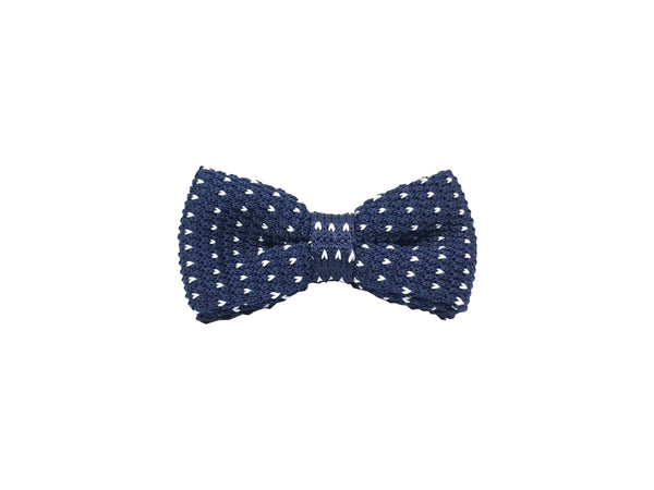 Blue white polka knit