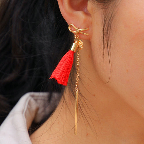 TASSEL CHARM EARRINGS (RED)
