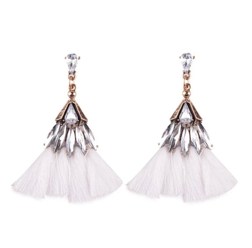 BEDAZZLED TASSEL EARRINGS (WHITE)