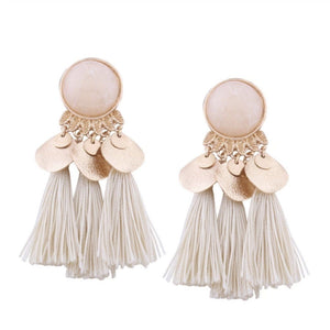 JINGLE JANGLE TASSEL EARRINGS (WHITE)