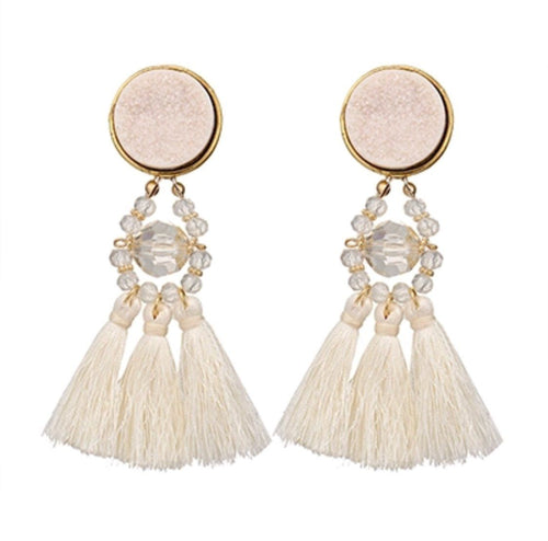 BELLA BEADED EARRINGS (VANILLA)
