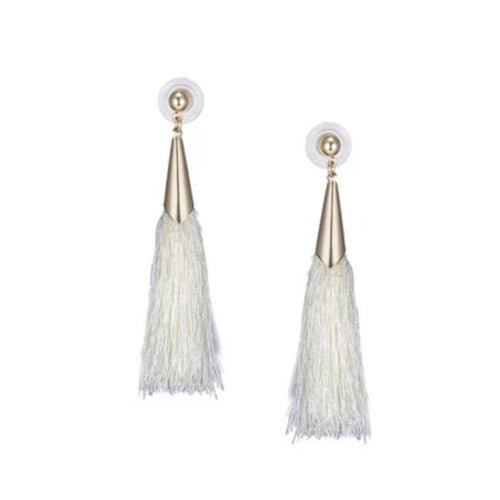 CAPPED TASSEL EARRINGS (WHITE)
