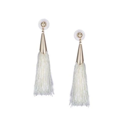 BEDAZZLED TASSEL EARRINGS (GREY)