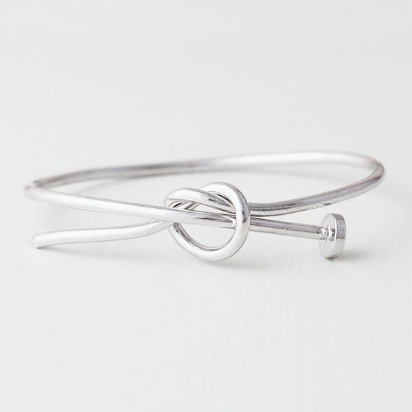 NAIL KNOT BANGLE (STERLING SILVER), [product-type] - Minimalist Jewellery