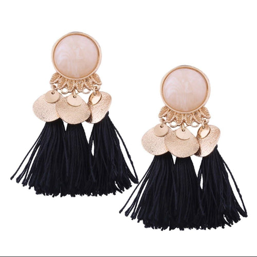 JINGLE JANGLE TASSEL EARRINGS (BLACK)