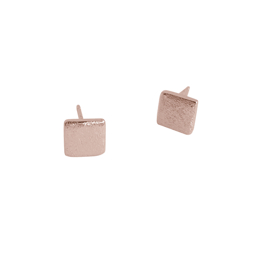 BRUSHED SQUARE EARRINGS (ROSE GOLD)