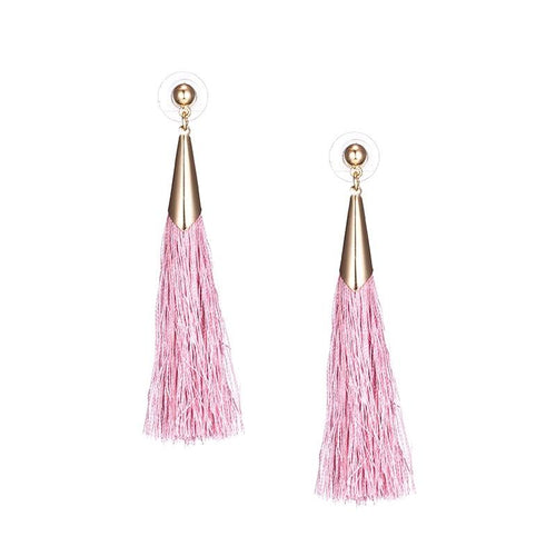 CAPPED TASSEL EARRINGS (PINK)