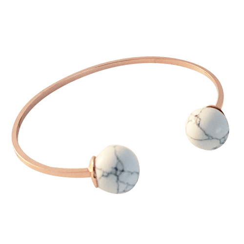 DOUBLE BALLIN MARBLE BANGLE (ROSE GOLD)