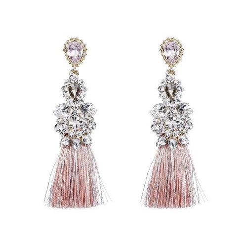 VINTAGE TASSEL EARRINGS (PINK)