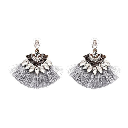 RAZZLE DAZZLE TASSEL EARRINGS (GREY)